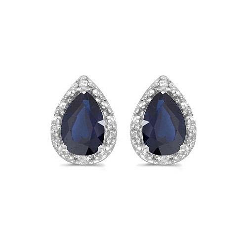 10k White Gold Pear Sapphire And Diamond Earrings