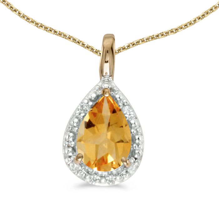 14k Yellow Gold Pear Citrine Pendant with 18