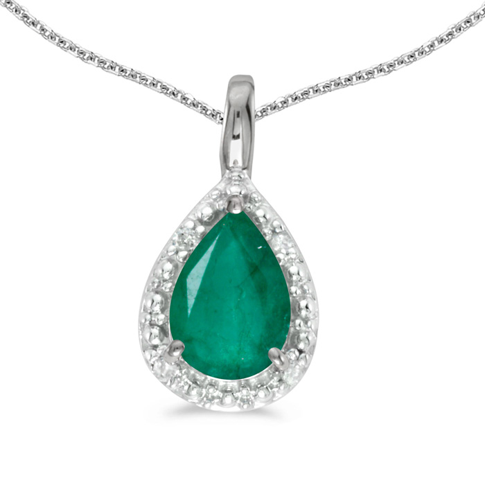 14k White Gold Pear Emerald Pendant with 18