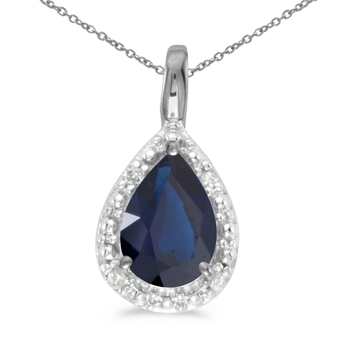 14k White Gold Pear Sapphire Pendant with 18