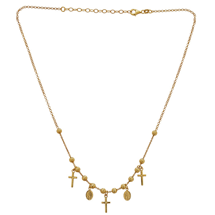 14 Karat Yellow Gold Over Sterling Silver Cross and Virgin Mary Charm Necklace, 16 inches with Free Chain