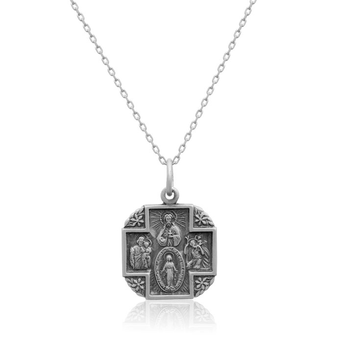 Sterling Silver Embellished Religious Cross Necklace, 18 Inches