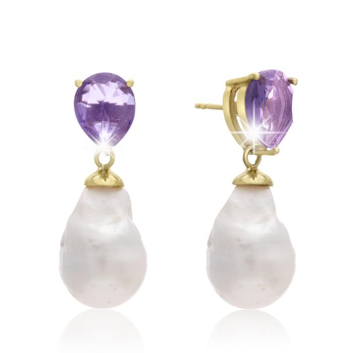 64 Carat Pear Shape Amethyst and Baroque Pearl Dangle Earrings In 14K Yellow Gold