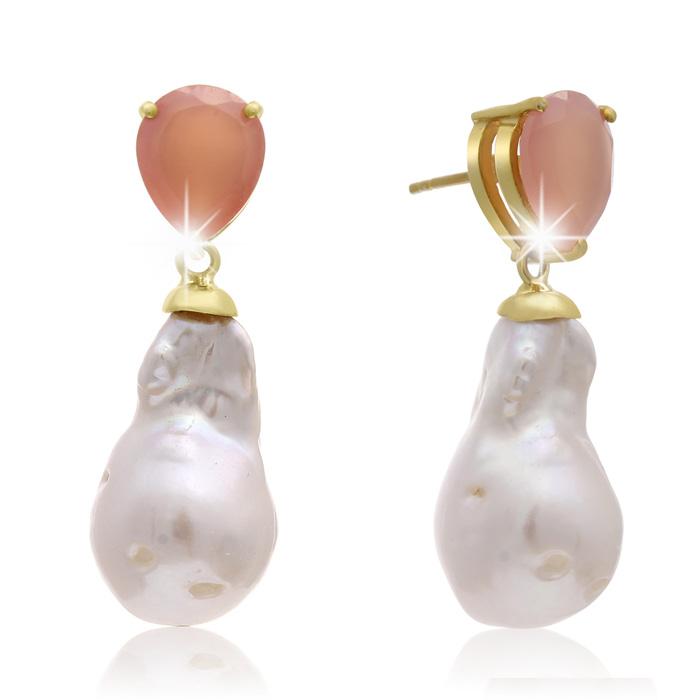 64 Carat Pear Shape Rose Quartz and Baroque Pearl Dangle Earrings In 14K Yellow Gold