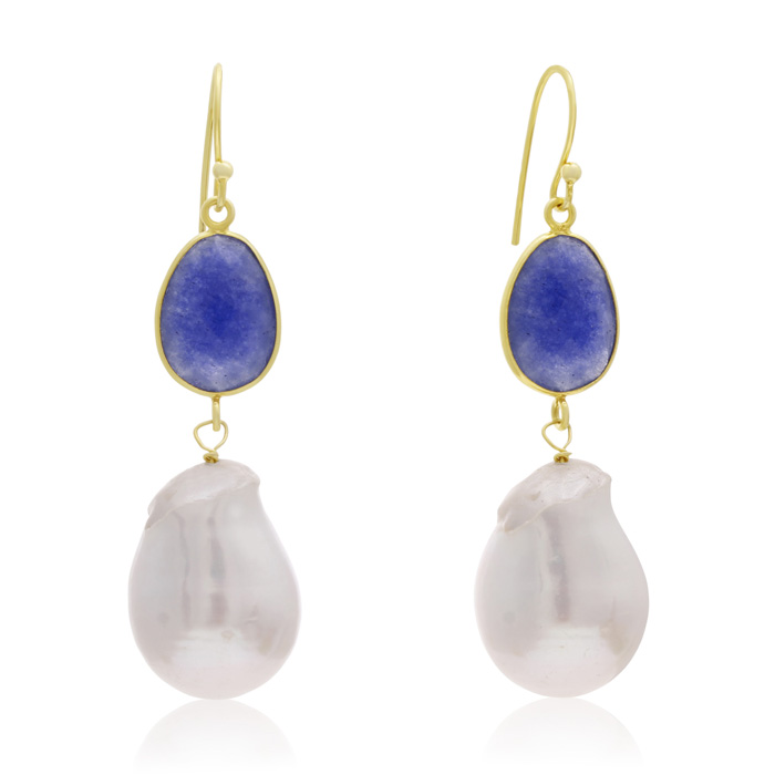 64 Carat Sapphire and Baroque Pearl Dangle Earrings In 14K Yellow Gold
