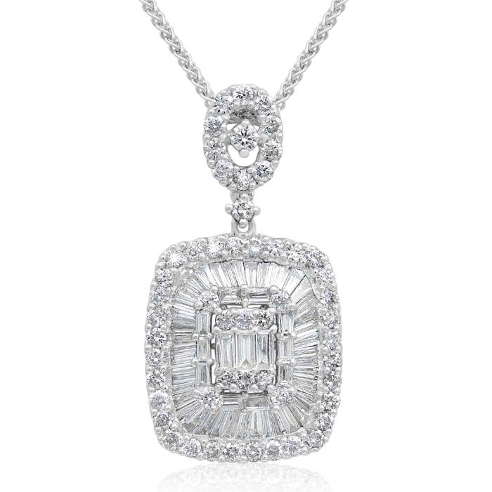 18 Karat White Gold 1.87 Carat Baguette and Round Diamond Pendant Necklace