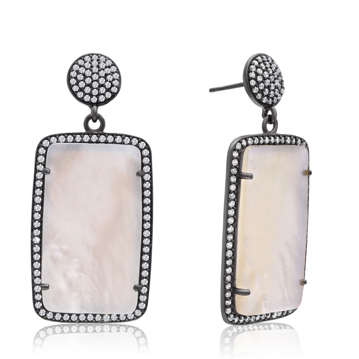 30 Carat Emerald Shape Mother of Pearl and Simulated Diamond Dangle Earrings In 14K Yellow Gold