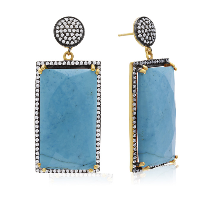 30 Carat Emerald Shape Turquoise and Simulated Diamond Dangle Earrings In 14K Yellow Gold