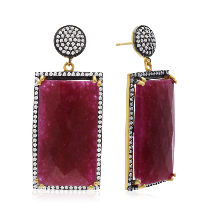 30 Carat Emerald Shape Ruby and Simulated Diamond Dangle Earrings In 14K Yellow Gold