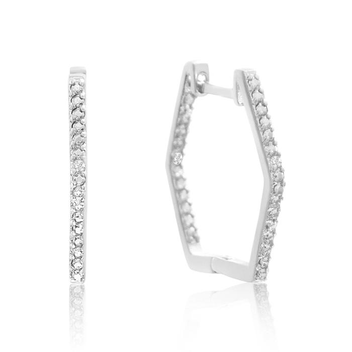 Stylish Diamond Hoop Earrings, Gold Overlay, 3/4 Inch