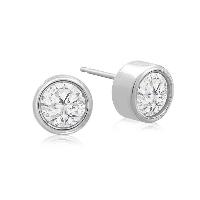 1 Carat Bezel Set Diamond Stud Earrings Crafted In 14 Karat White Gold