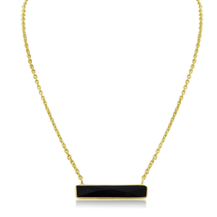 10 Carat Black Onyx Bar Necklace In Yellow Gold Overlay