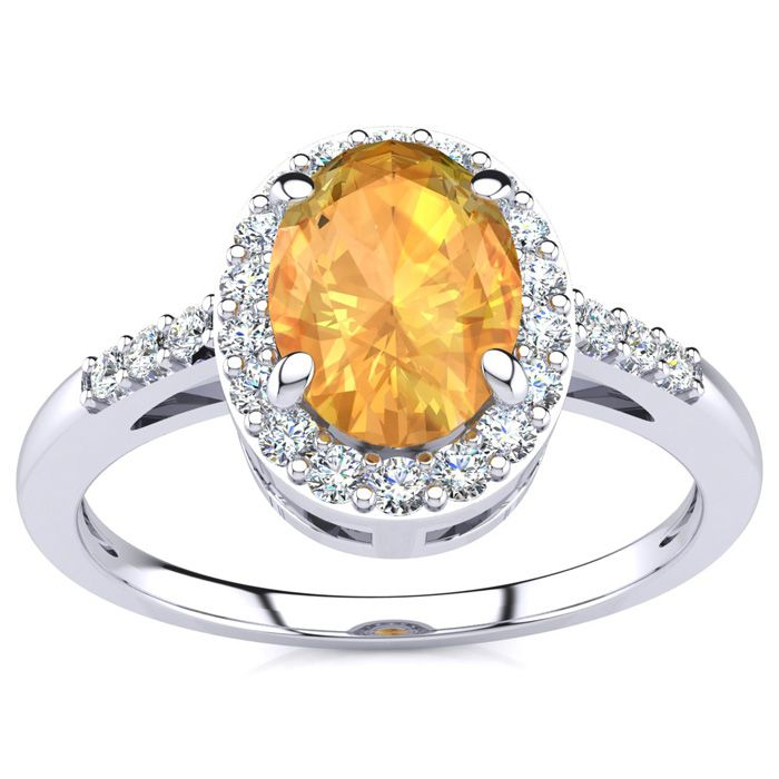 1/2 Carat Oval Shape Citrine and Halo Diamond Ring In 14K White Gold