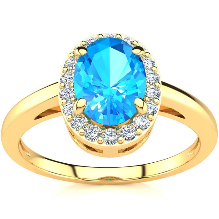 1 Carat Oval Shape Blue Topaz and Halo Diamond Ring In 14K Yellow Gold