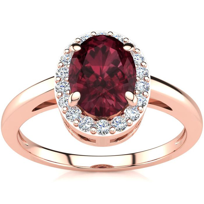1 Carat Oval Shape Garnet and Halo Diamond Ring In 14K Rose Gold