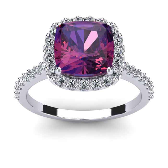 2 1/2 Carat Cushion Cut Amethyst and Halo Diamond Ring In 14K White Gold