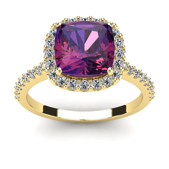 2 1/2 Carat Cushion Cut Amethyst and Halo Diamond Ring In 14K Yellow Gold