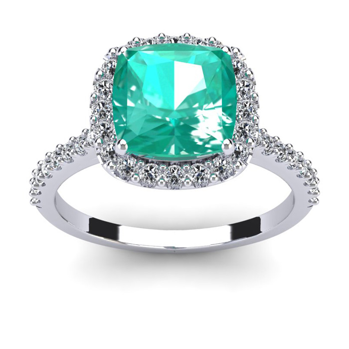 2 1/2 Carat Cushion Cut Emerald and Halo Diamond Ring In 14K White Gold