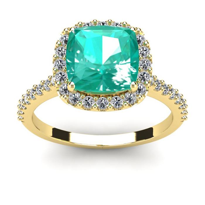 2 1/2 Carat Cushion Cut Emerald and Halo Diamond Ring In 14K Yellow Gold