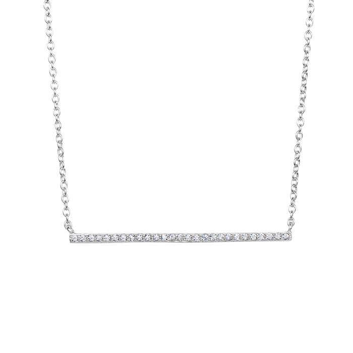 Sterling Silver Cubic Zirconia Dainty Bar Necklace, 18 Inches