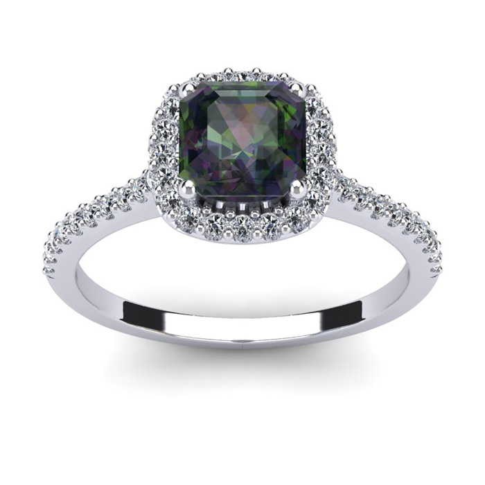 1 1/2 Carat Cushion Cut Mystic Topaz and Halo Diamond Ring In 14K White Gold