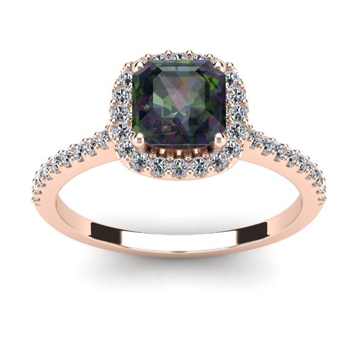 1 1/2 Carat Cushion Cut Mystic Topaz and Halo Diamond Ring In 14K Rose Gold
