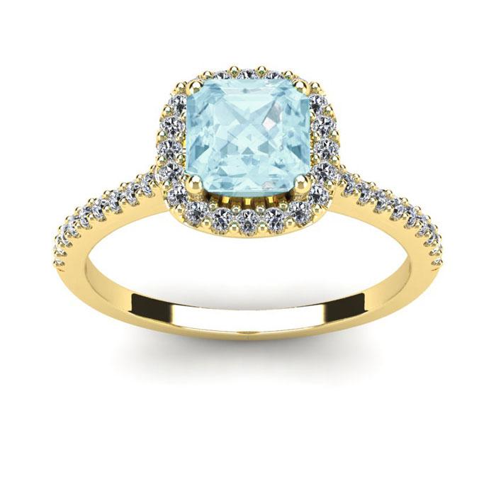 1 Carat Cushion Cut Aquamarine and Halo Diamond Ring In 14K Yellow Gold