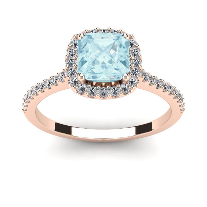 1 Carat Cushion Cut Aquamarine and Halo Diamond Ring In 14K Rose Gold