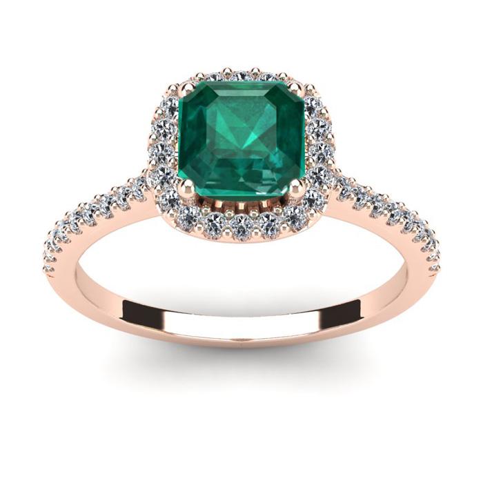 1 1/2 Carat Cushion Cut Emerald and Halo Diamond Ring In 14K Rose Gold