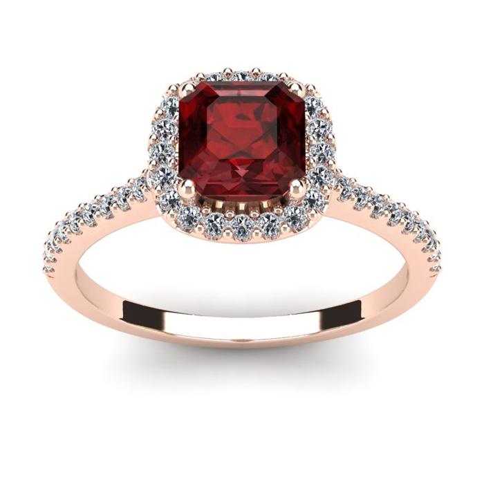 1 1/2 Carat Cushion Cut Garnet and Halo Diamond Ring In 14K Rose Gold