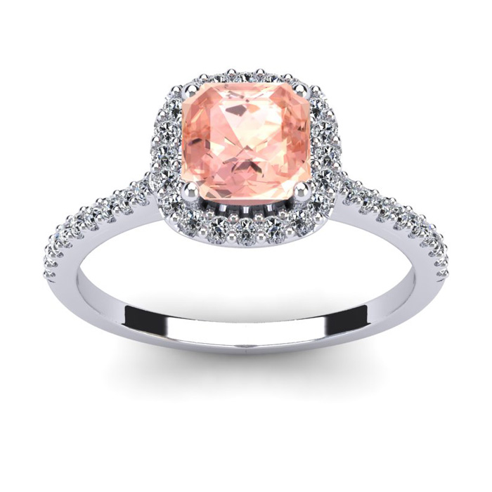 1 Carat Cushion Cut Morganite and Halo Diamond Ring In 14K White Gold