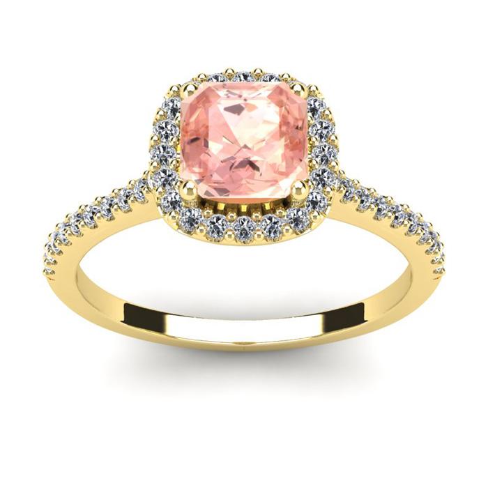 1 Carat Cushion Cut Morganite and Halo Diamond Ring In 14K Yellow Gold