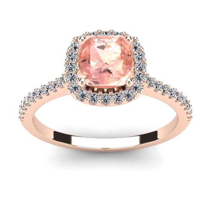 1 Carat Cushion Cut Morganite and Halo Diamond Ring In 14K Rose Gold