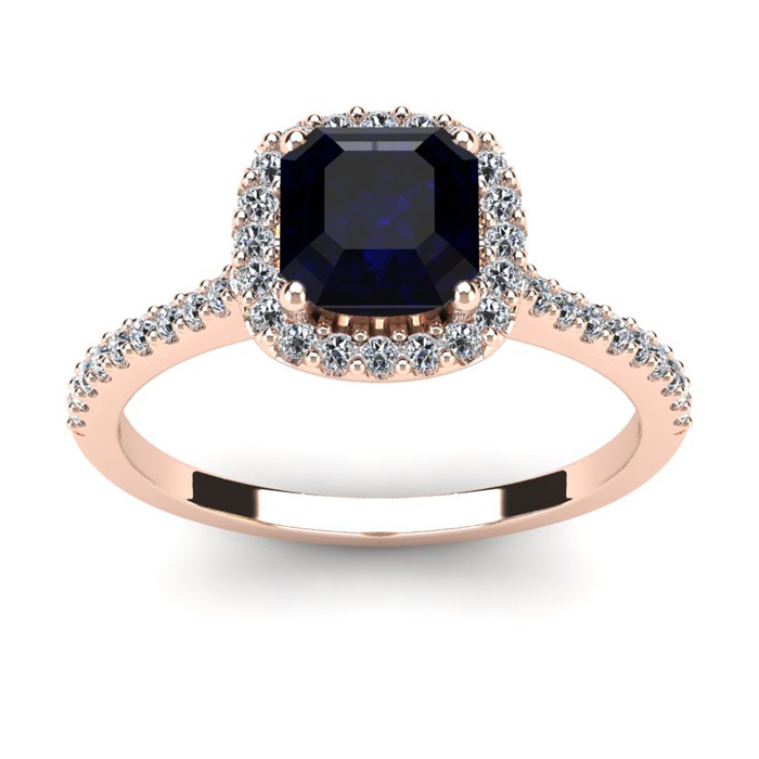 1 1/2 Carat Cushion Cut Sapphire and Halo Diamond Ring In 14K Rose Gold
