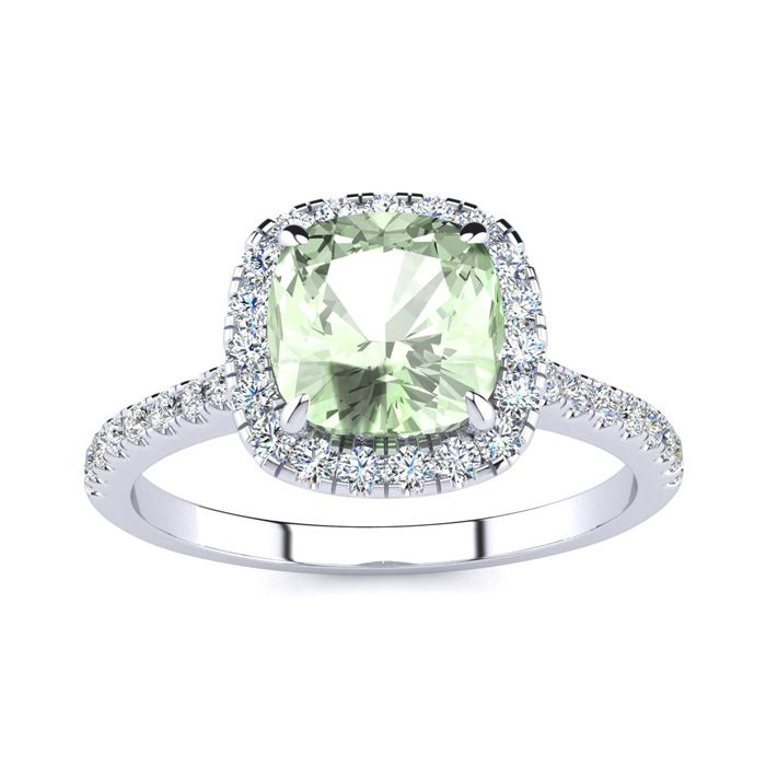 1 3/4 Carat Cushion Cut Green Amethyst and Halo Diamond Ring In 14K White Gold