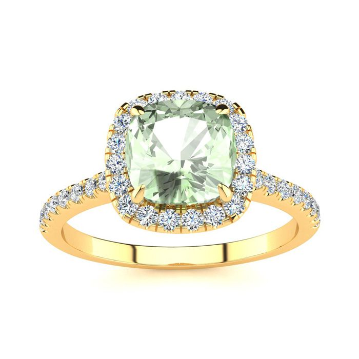 1 3/4 Carat Cushion Cut Green Amethyst and Halo Diamond Ring In 14K Yellow Gold