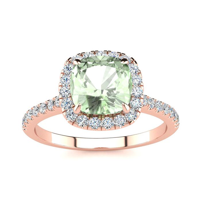 1 3/4 Carat Cushion Cut Green Amethyst and Halo Diamond Ring In 14K Rose Gold