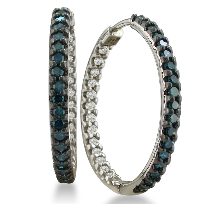 1ct Inside Out White and Blue Diamond Hoop Earrings in Sterling Silver