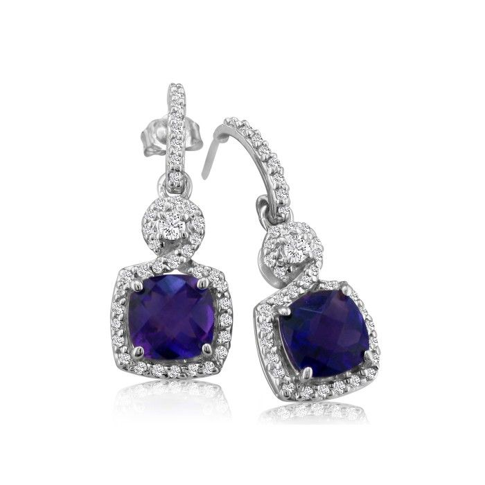 Dangling Micropave Amethyst and Diamond Earrings, 14K White Gold