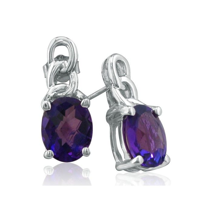 Open Chain Design 3ct Amethyst Earrings in 10k White Gold