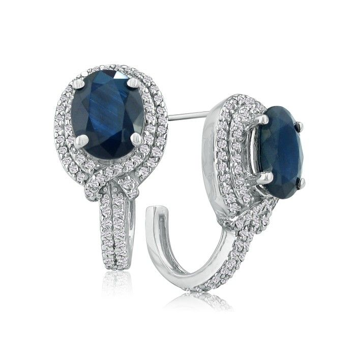 6 1/2ct Statement Style Sapphire and Diamond Earrings, 14k White Gold