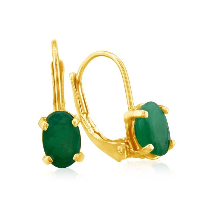 1 1/4ct Oval Emerald Drop Earrings in 14k Yellow Gold