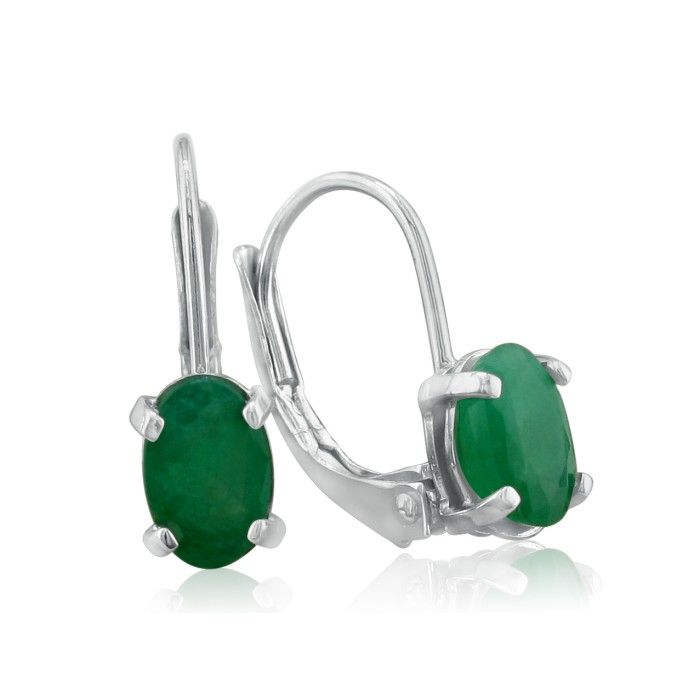 1 1/4ct Oval Emerald Drop Earrings in 14k White Gold