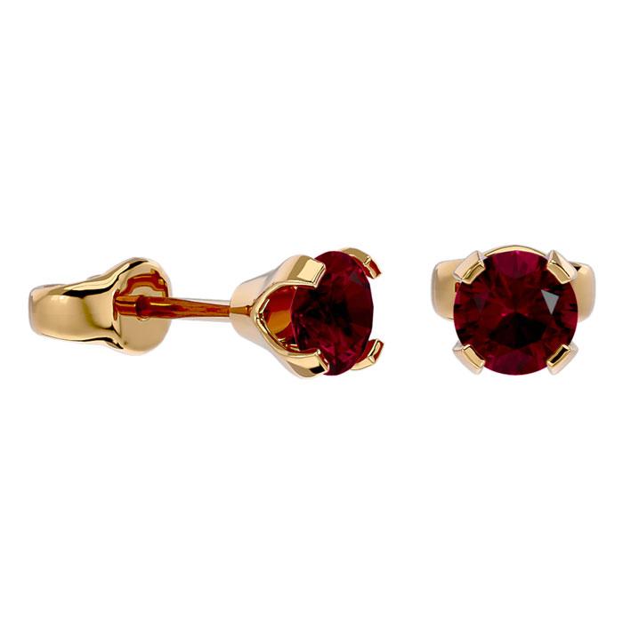.60ct Ruby Stud Earrings in 14k Yellow Gold
