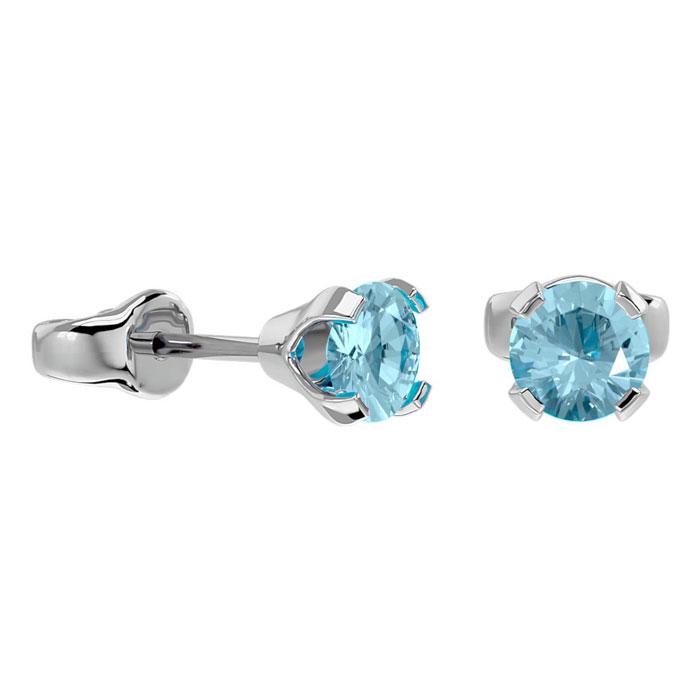 1/2ct Aquamarine Stud Earrings in 14k White Gold