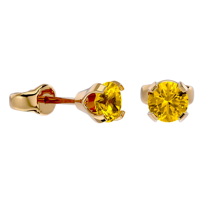 .60ct Citrine Stud Earrings in 14k Yellow Gold