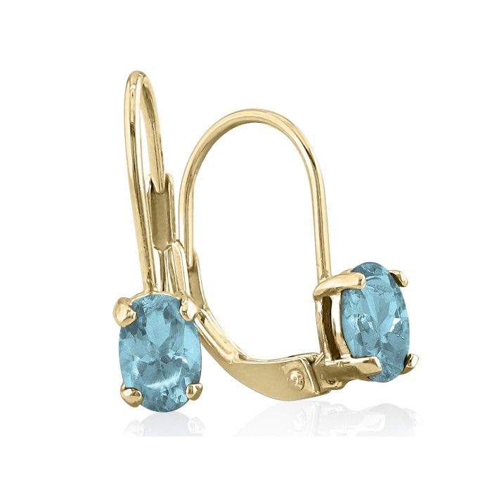 1ct Oval Aquamarine Solitaire Leverback Earrings in 14k Yellow Gold
