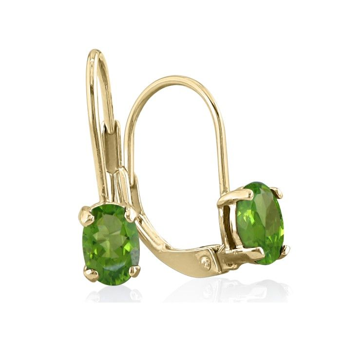 1ct Oval Peridot Solitaire Leverback Earrings in 14k Yellow Gold
