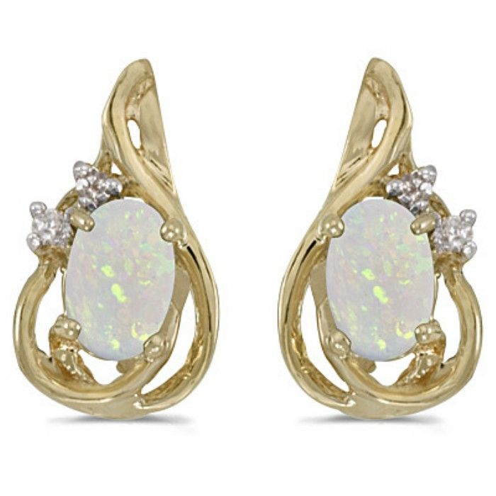 1/2ct Oval Opal And Diamond Teardrop Earrings in 14k Yellow Gold