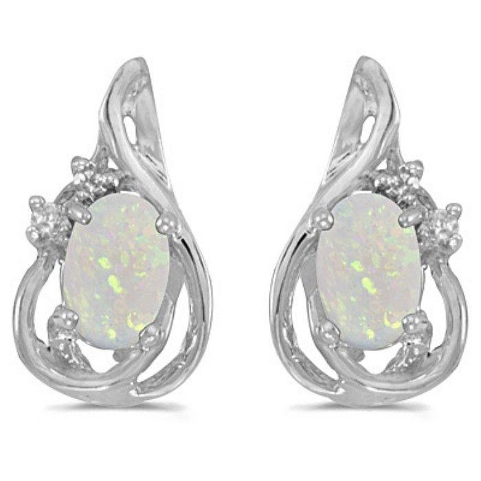 1/2ct Oval Opal And Diamond Teardrop Earrings in 14k White Gold